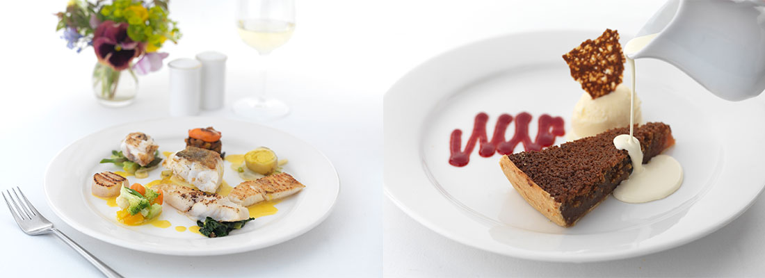 Tow photographs showing fish main course and chocolate dessert